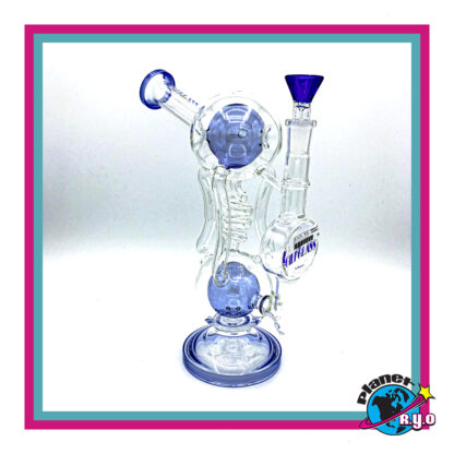 Double Ball Recycler Water Pipe by Gili Glass